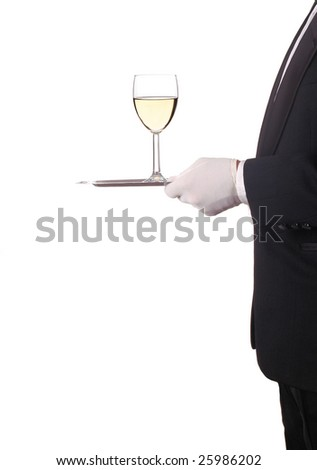 Glass of Chardonnay Wine Being Served by Waiter on Silver Tray isolated over white - stock photo