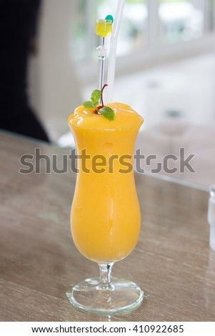 Glass of Cherries Fruit Smoothie Soft Drink - stock photo