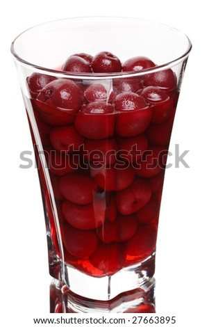 Glass of cherry compote on a white background