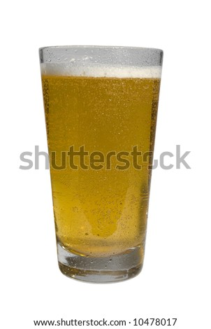 Glass of chilled lager beer