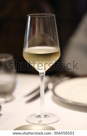 glass of chilled white wine on table - stock photo