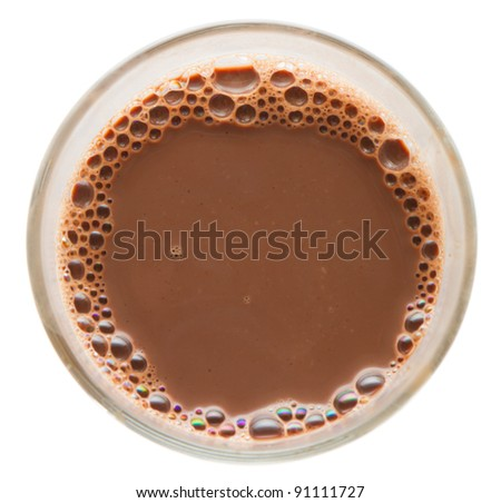 glass of chocolate milk isolated on white - stock photo