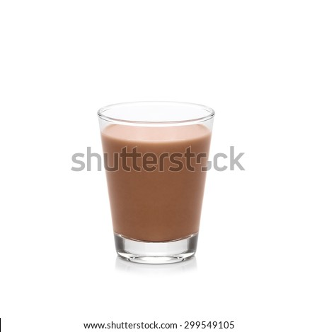 Glass of chocolate milk isolated on white background - stock photo