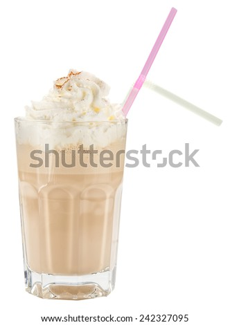 Glass of chocolate milkshake with straw isolated on white background
