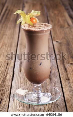 Glass of chocolate smoothie - stock photo