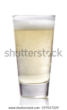 Glass of cider isolated on a white background - stock photo