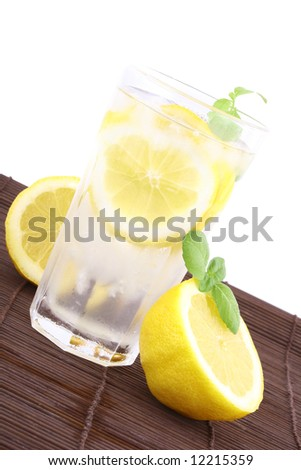 Glass of clean fresh water with lemon