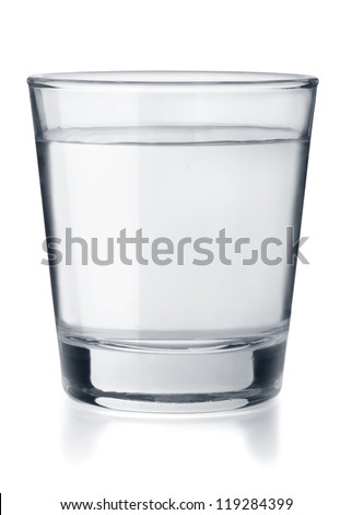 Glass of clear fresh water isolated on white - stock photo