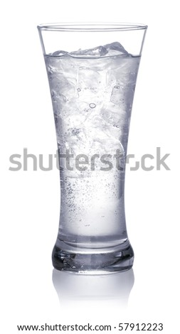 glass of clear water and ice. Isolated on white background - stock photo
