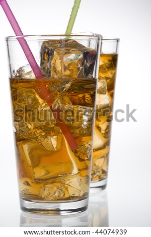 Glass of cocktail isolated on white background