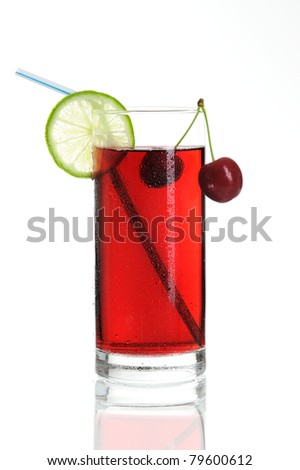 glass of cocktail with drinking straw, decorated with lemon and cherry on white background - stock photo