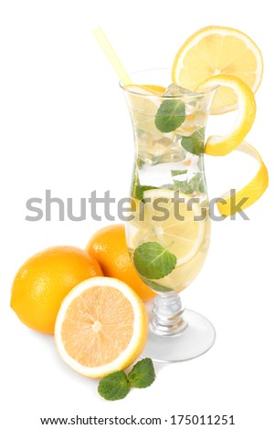 Glass of cocktail with lemon and mint isolated on white