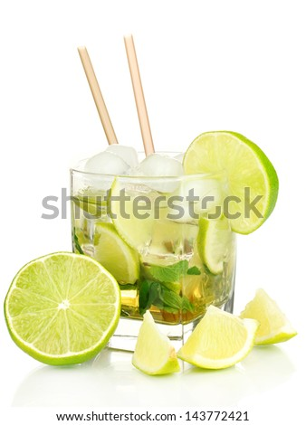 Glass of cocktail with lime and mint isolated on white - stock photo