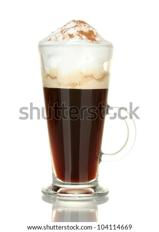 glass of coffee cocktail isolated on white