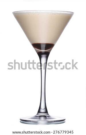 Glass of coffee cocktail with irish liqueur and honey - stock photo