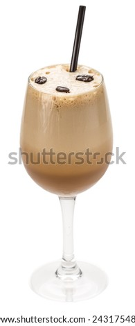 Glass of coffee milkshake with straw isolated on white background - stock photo