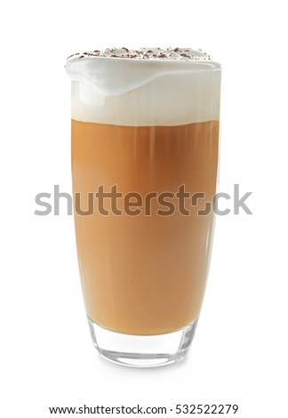 Glass of coffee with cream foam and cocoa powder on white background