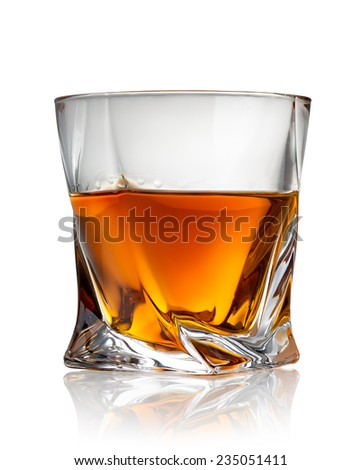 Glass of cognac isolated on a white background