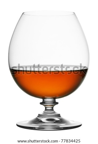 glass of cognac isolated on white background - stock photo