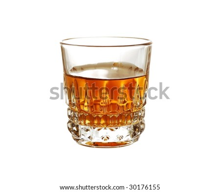 glass of cognac on white background - stock photo