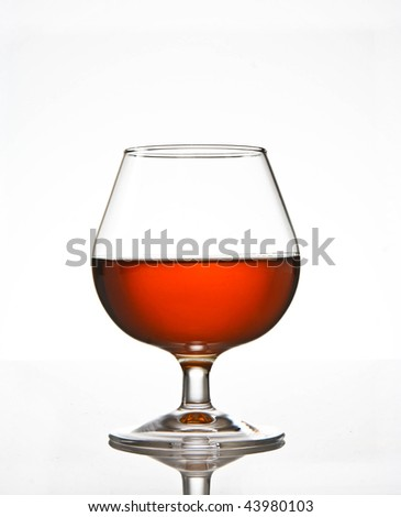 glass of cognac or brandy - stock photo