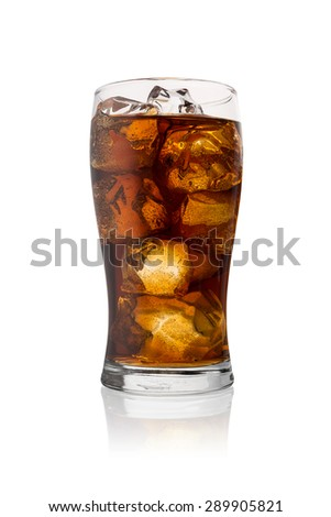 glass of cola drink with ice cubes isolated on white background - stock photo