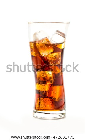 Glass of cola drink with ice cubes on white background