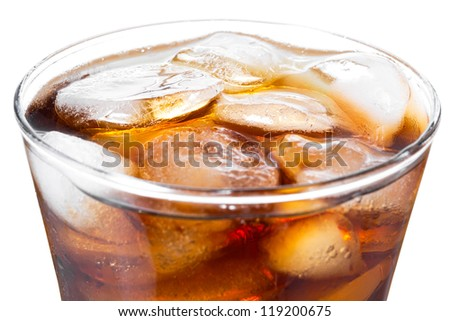 Glass of cola on the white background
