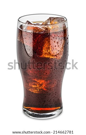 glass of cola on white background - stock photo