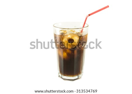 Glass of cola red straw with roll ice isolate white background - stock photo