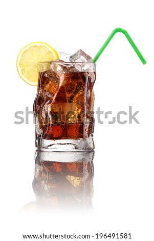 Glass of cola with ice and lemon. Isolated on white - stock photo