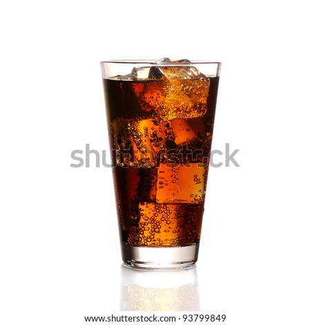 Glass of cola with ice cubes - stock photo