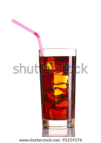 Glass of cola with ice isolated on white - stock photo