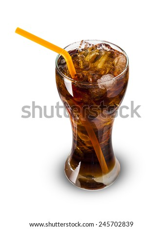 Glass of cola with ice Isolated on white background - stock photo