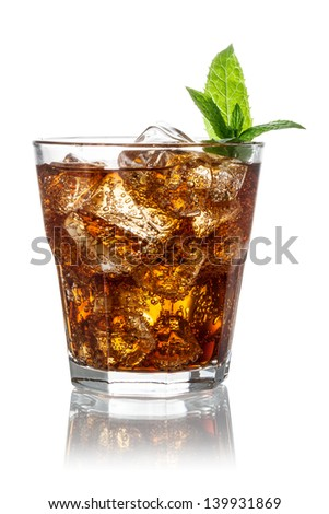 Glass of cola with ice isolated on white. Clipping path - stock photo