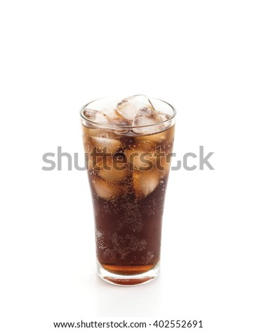 glass of cola with ice on white background