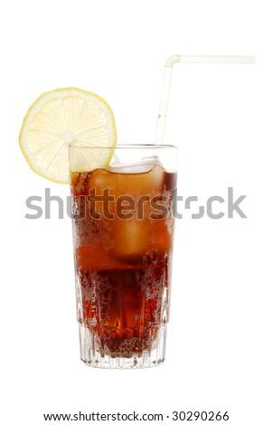 Glass of cola with lemon slice - stock photo