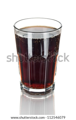 Glass of cola with reflection isolated on white - stock photo