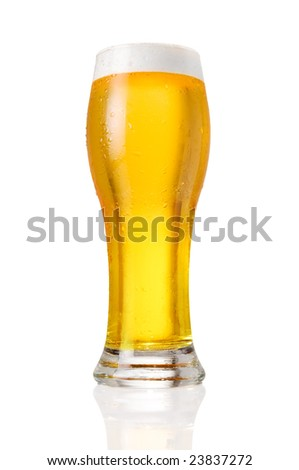 Glass of cold beer with water drops isolated on white background - stock photo