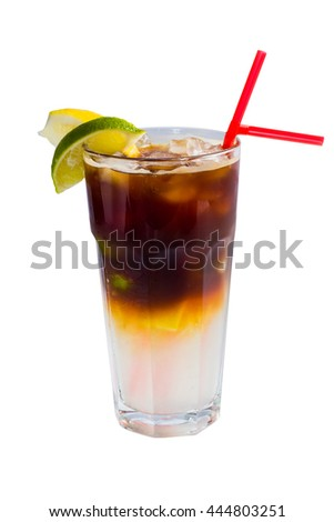 glass of cold fruit cocktail with ice, mint and pieces of fruit on a white background