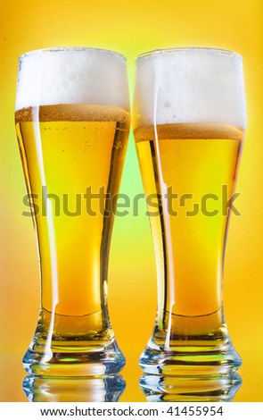 glass of cold wheat beer - stock photo