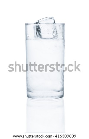 Glass of cool water with ice on white background with reflection - stock photo