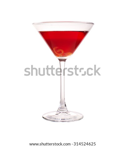 Glass of cosmopolitan cocktail with straws isolated on white