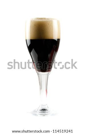 Glass of dark beer - stock photo