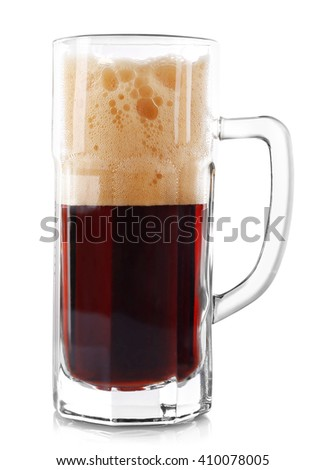 Glass of dark beer, isolated on white