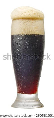 glass of dark beer isolated on white background - stock photo