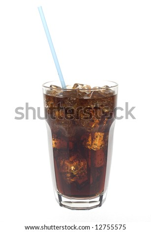 Glass of dark cola soda with a straw against white - stock photo