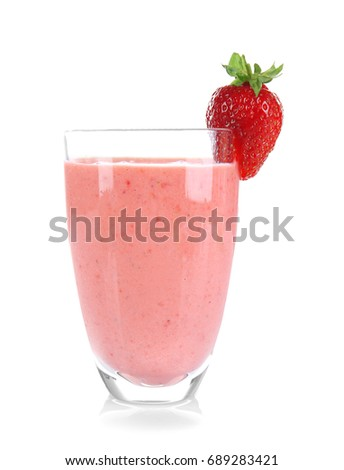 Glass of delicious strawberry homemade smoothie on white background