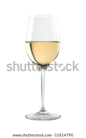 Glass of fine white wine. Isolated on white background.