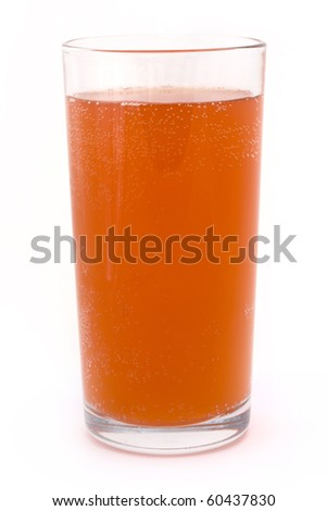 glass of fizzy orange on a white background - stock photo